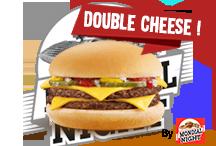 Double CheesePain burger artisanal, 2 steacks 90 grammes, sauces spéciales maison, cheddar. Selon disponibilité    5€Commander par tél ou SMS