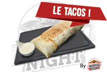 Tacos pouletTortilla avec escalope fraiche, frites, tranches de cheddar et sauce fromagère faite maison   8€Commander par tél ou SMS