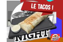 Tacos boeufTortilla avec viande hachée fraiche, frites, tranches de cheddar et sauce fromagère faite maison   8€Commander par tél ou SMS
