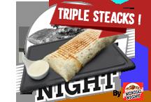 Triple SteackTortilla avec 3 steaks et 3 tranches de cheddar avec une sauce spéciale faite maison   8€Commander par tél ou SMS